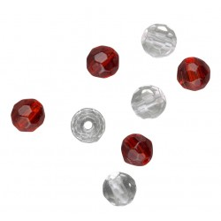 Spro Flaceted Glass Beads - Glaspärlor Rödvita, 6mm, 12-pack